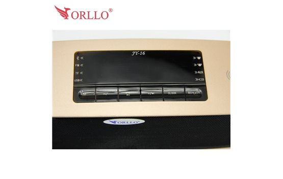 Bezprzewodowy Głośnik z Bluetooth Stereo z Zegarem i Budzikiem ORLLO JY-16. Funkcja zestawu głośnomówiącego.