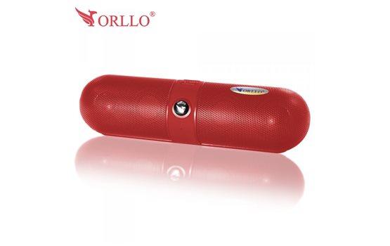Czerwony Głośnik stereo Bluetooth Orllo F-808 z Radiem FM, czytnikiem kart microSD oraz wejściem AUX (mini jack) o mocy 3W