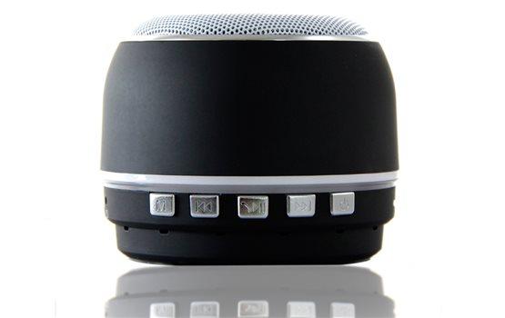 Niewielki czarny Głośnik Bluetooth Orllo DF-B07 z Radiem FM oraz wejściem mini jack o mocy 3W z antypoślizgową podstawką.