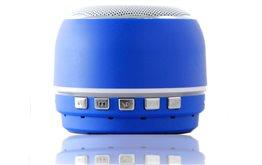 Niewielki Niebieski Głośnik Bluetooth Orllo DF-B07 z Radiem FM oraz wejściem mini jack o mocy 3W z antypoślizgową podstawką.