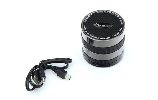 Niewielki mocny Głośnik Bluetooth Orllo CX-99P z Radiem FM, czytnikiem kart microSD w kolorze czarnym z podstawką antypoślizgową