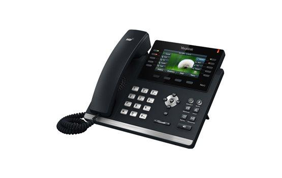 Telefon VoIP Yealink T46G dwa porty Gigabit PoE 16 kont SIP obsługa adapterów, bluetooth, EHS, kancelacja echa, kolorowy LCD